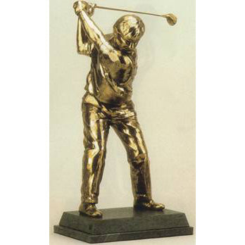 "Nick Faldo golf trophy of Golfer at top of Swing - 13""/33.5cm S53"