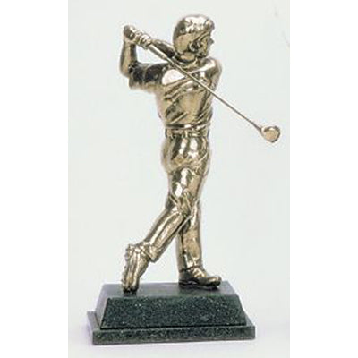 "Golf trophy of golfer at end of swing - 8.5""/22cm S63"
