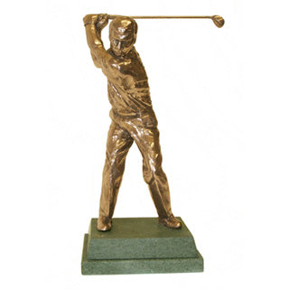 "Golf trophy or golf prize of golfer at top of swing  - 8.5""/22cm S64"