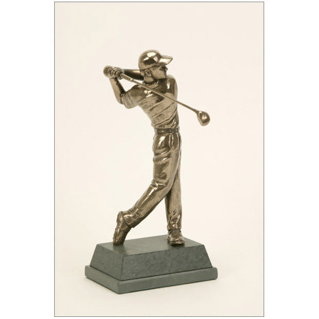 "Golf trophy of golfer at end of swing - 8.5""/22cm S89"
