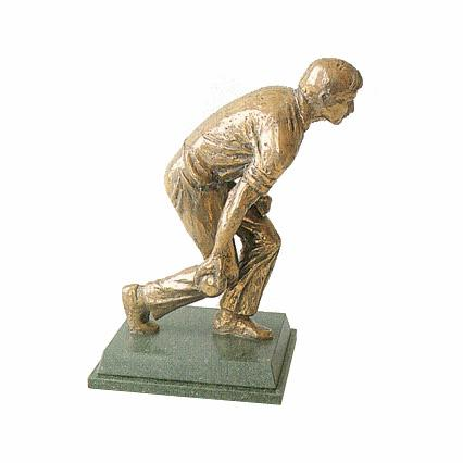 Lawn Bowls Player trophy. A high quality bronze bowls award-S8