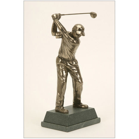 "Golf trophy of Prize Winning Golfer at top of swing - 8.5""/22cm S91"
