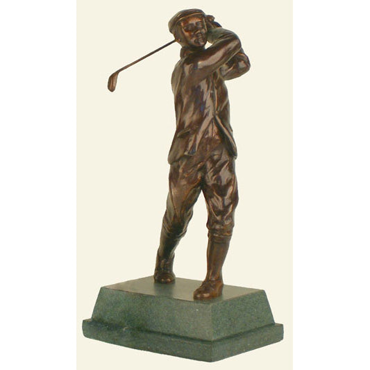 "Golf trophy of Edwardian male golfer - patinated finish - 8.5""/22cm S98P S98P"