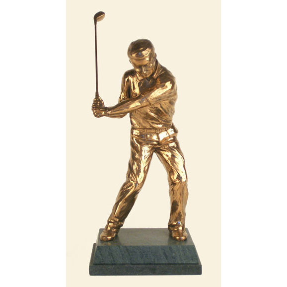 "Golf trophy of golfer on downstroke - 11""/28cm S99"