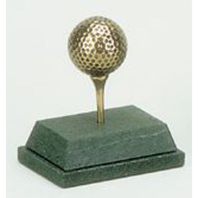"Bronze Golf Ball & Tee Trophy - 3.75""/9cm SC53"