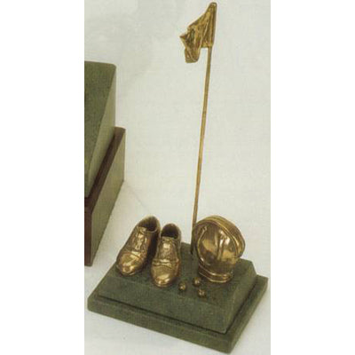 "Golf Trophy of Golf Shoes Flag and Balls 8""/20.5cm overall  - Tab 11"
