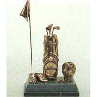 "Golf Trophy of Two Golf Bags Flag and Golf Shoes, 9""/23cm overall - Tab 2"