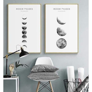 Moon Phases Nordic Print Canvas Wall art - Teqtus
