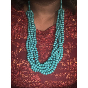 Long Turquoise Wood Set