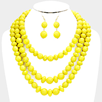 Triple Strands Beaded Necklace