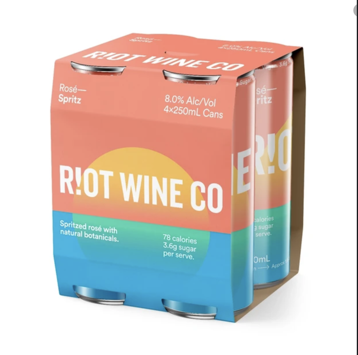Riot Wine Co Rose Spritz Can 250ml 4 Pack - Hop Vine & Still