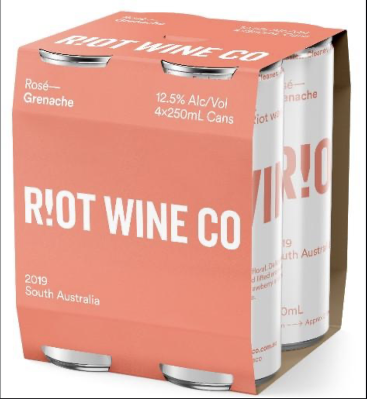 Riot Wine Co Grenache Rose 250ml Can 4 Pack - Hop Vine & Still