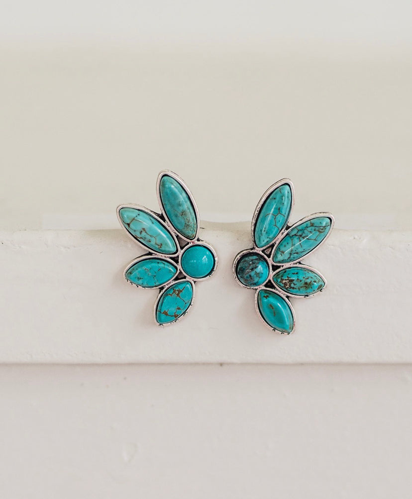 Half Flower Earrings Turquoise