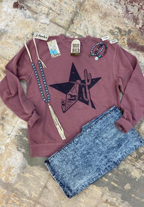 Space Star Hand Dyed Maroon Sweatshirt