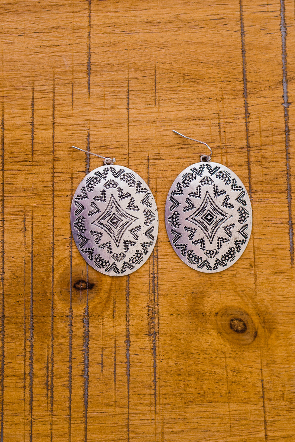 Oval Concho Stamped Earrings