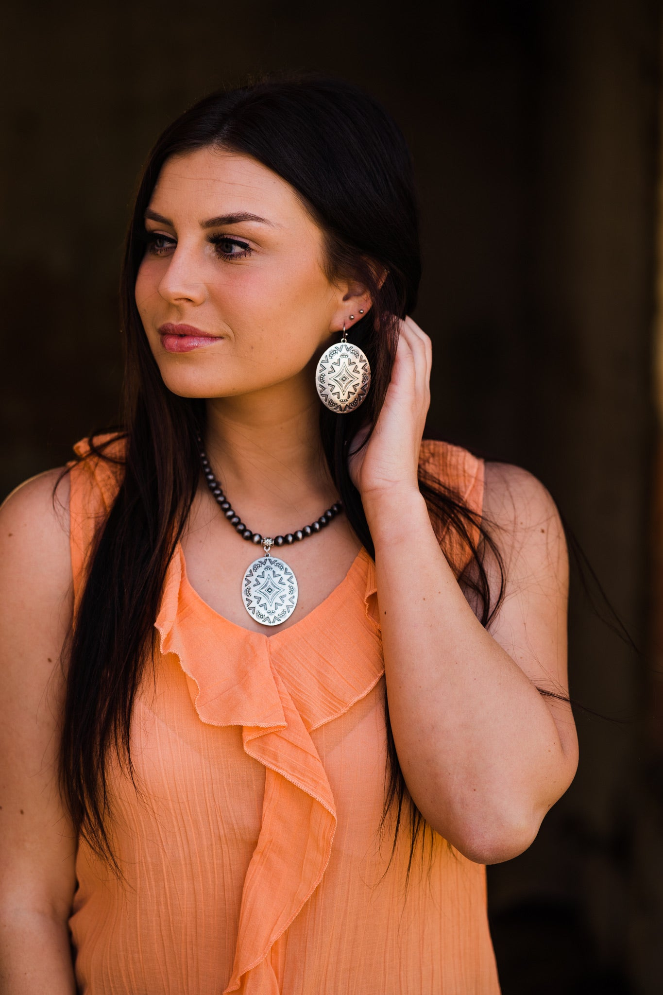 Oval Concho Stamped Necklace