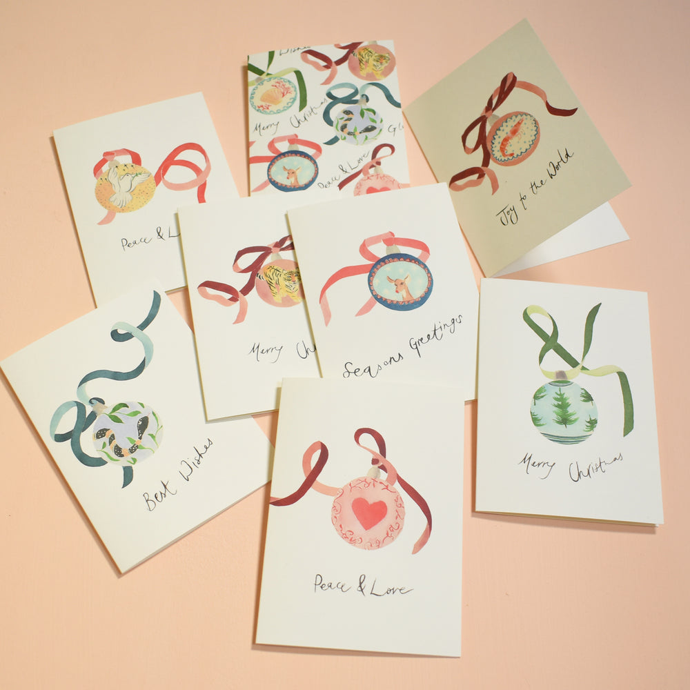 Festive Christmas Baubles Eco-Friendly Christmas Card Pack