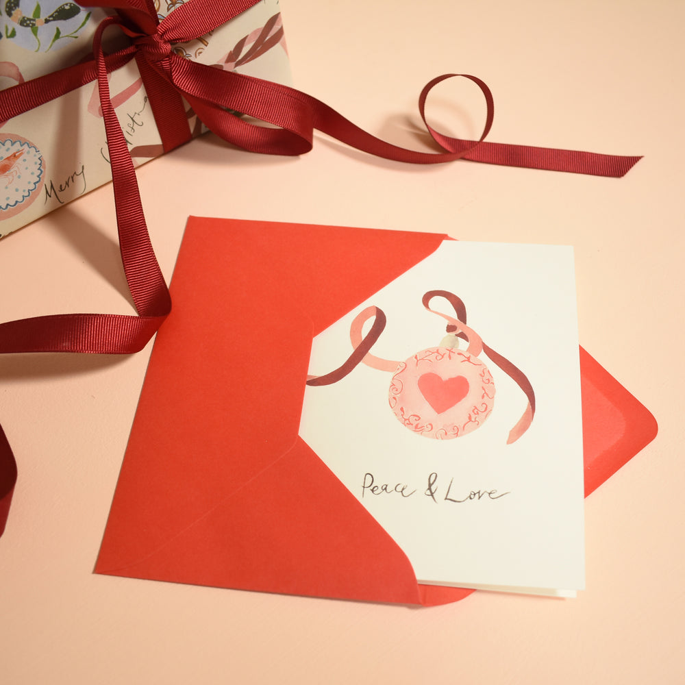 Love Heart Festive Bauble Eco-Friendly Christmas Card