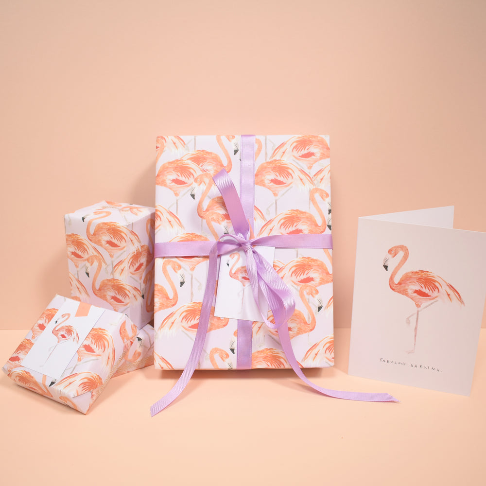 Flamingo Eco-Friendly Recycled Wrapping Paper