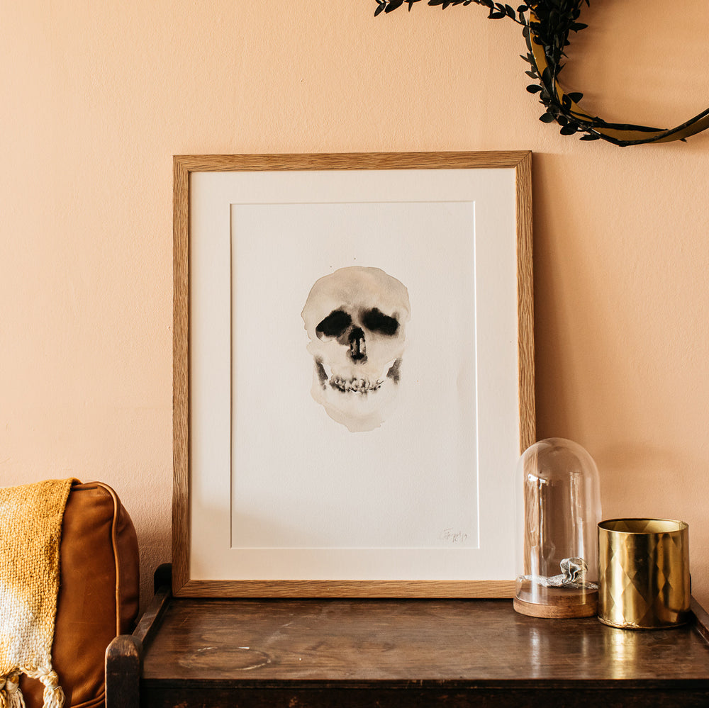 Skull Watercolour Fine Art Print