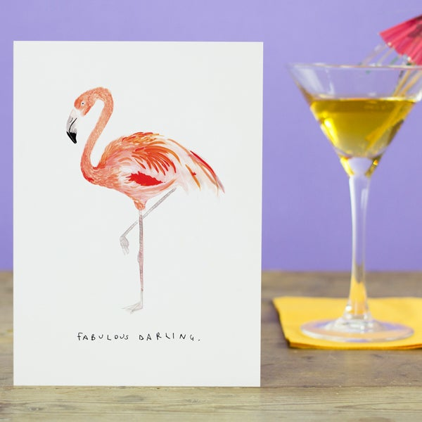 """fabulous darling"" greetings card"