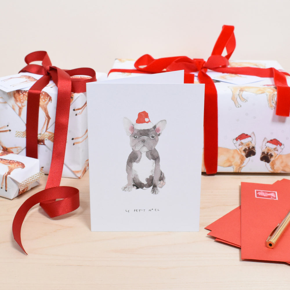 Le Petit Noel French Bulldog Puppy Christmas Card