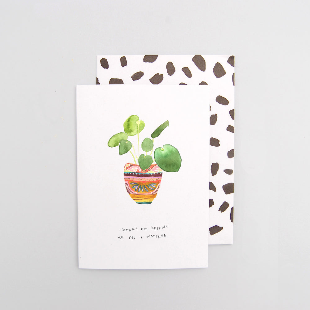 Thanks for keeping me fed & watered Pilea Mother's Day Card