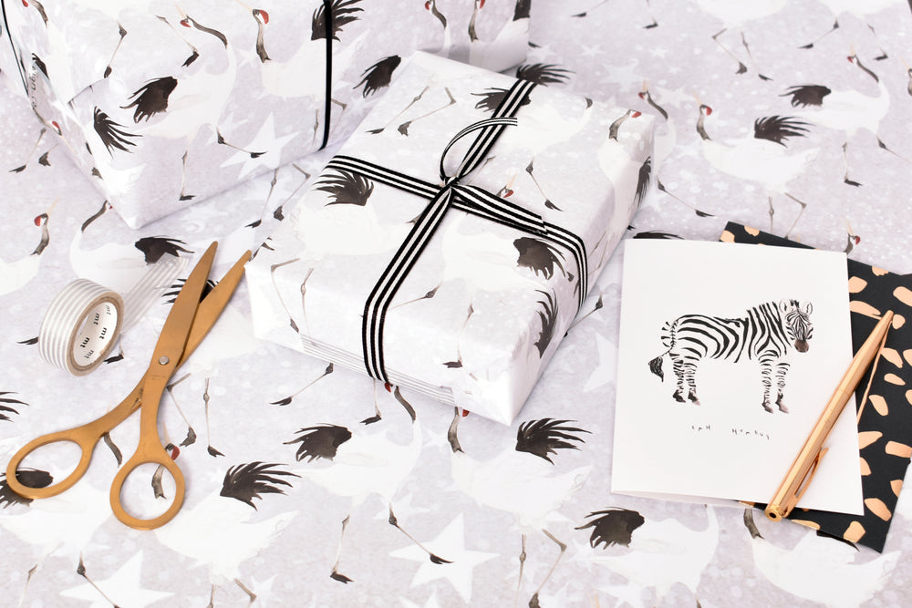 Dancing Crane Eco-Friendly Recycled Wrapping Paper