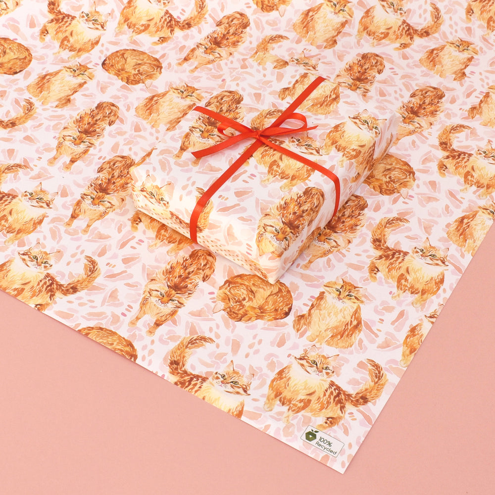 Ginger Cat Recycled Wrapping Paper
