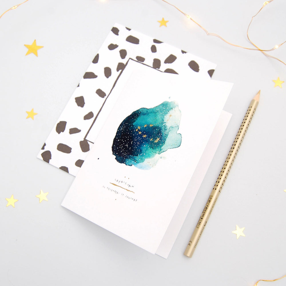 Capricorn Inky Zodiac Greeting Card