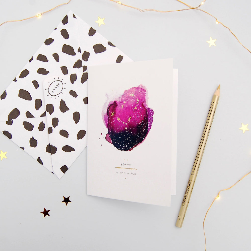 Gemini Inky Zodiac Greeting Card