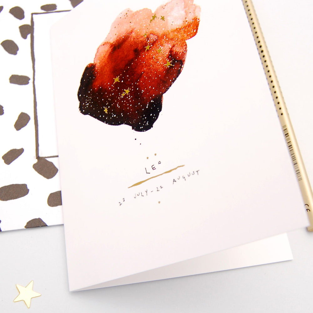 Leo Inky Zodiac Greeting Card