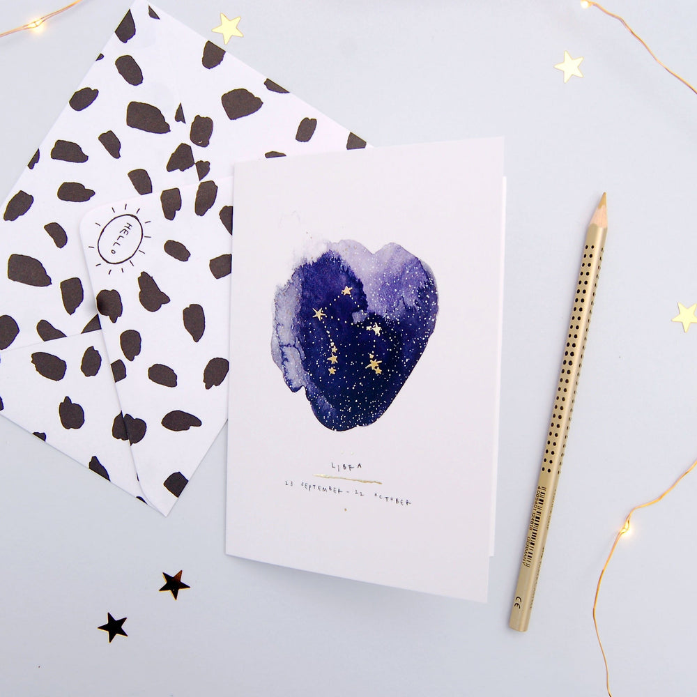 Libra Inky Zodiac Greeting Card
