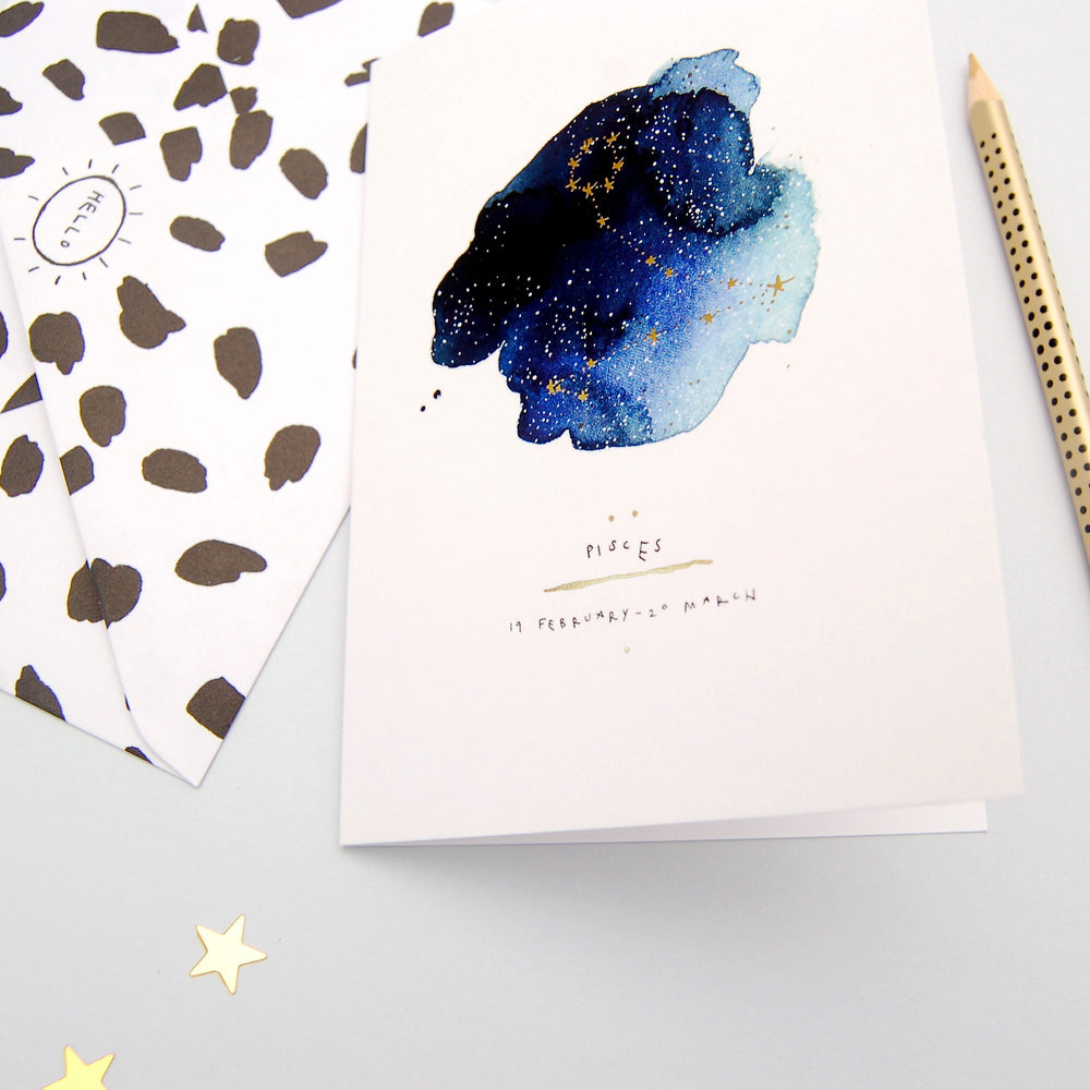 Pisces Inky Zodiac Greeting Card