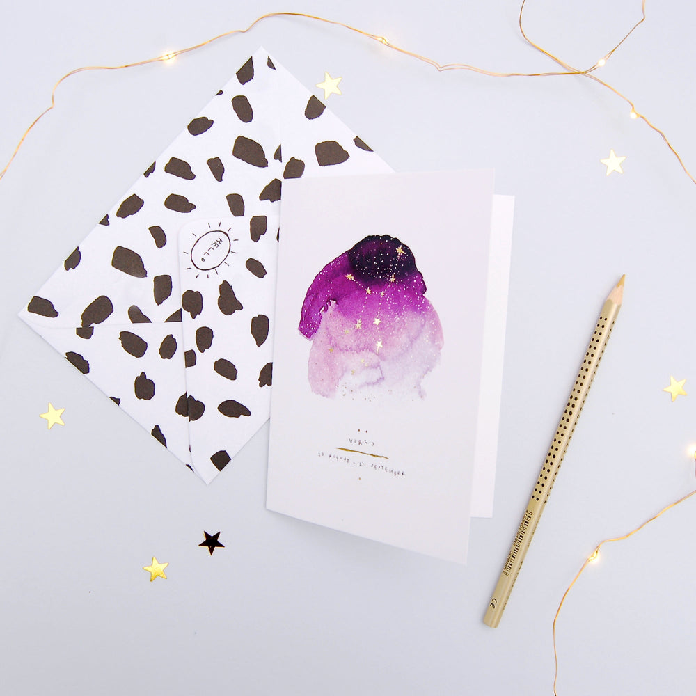 Virgo Inky Zodiac Greeting Card