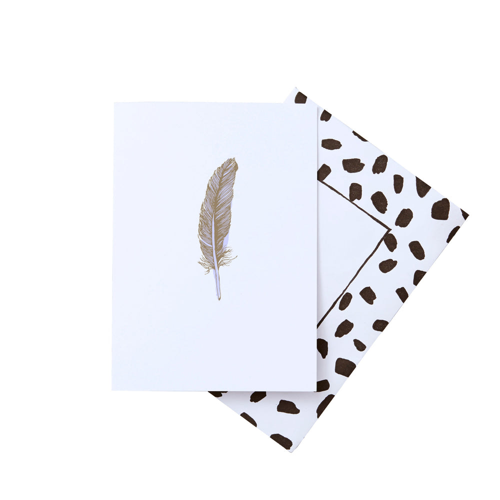 Feather Lilac Gold Foil Greeting Card