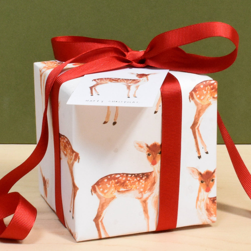'Happy Christmas' Fawn In The Snow Recycled Wrapping Paper