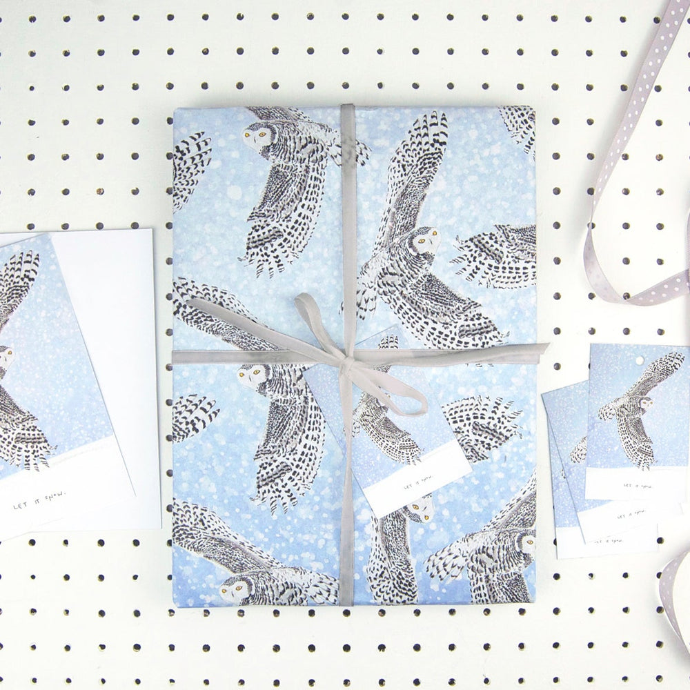 Snowy Owl Eco Recycled Wrapping Paper