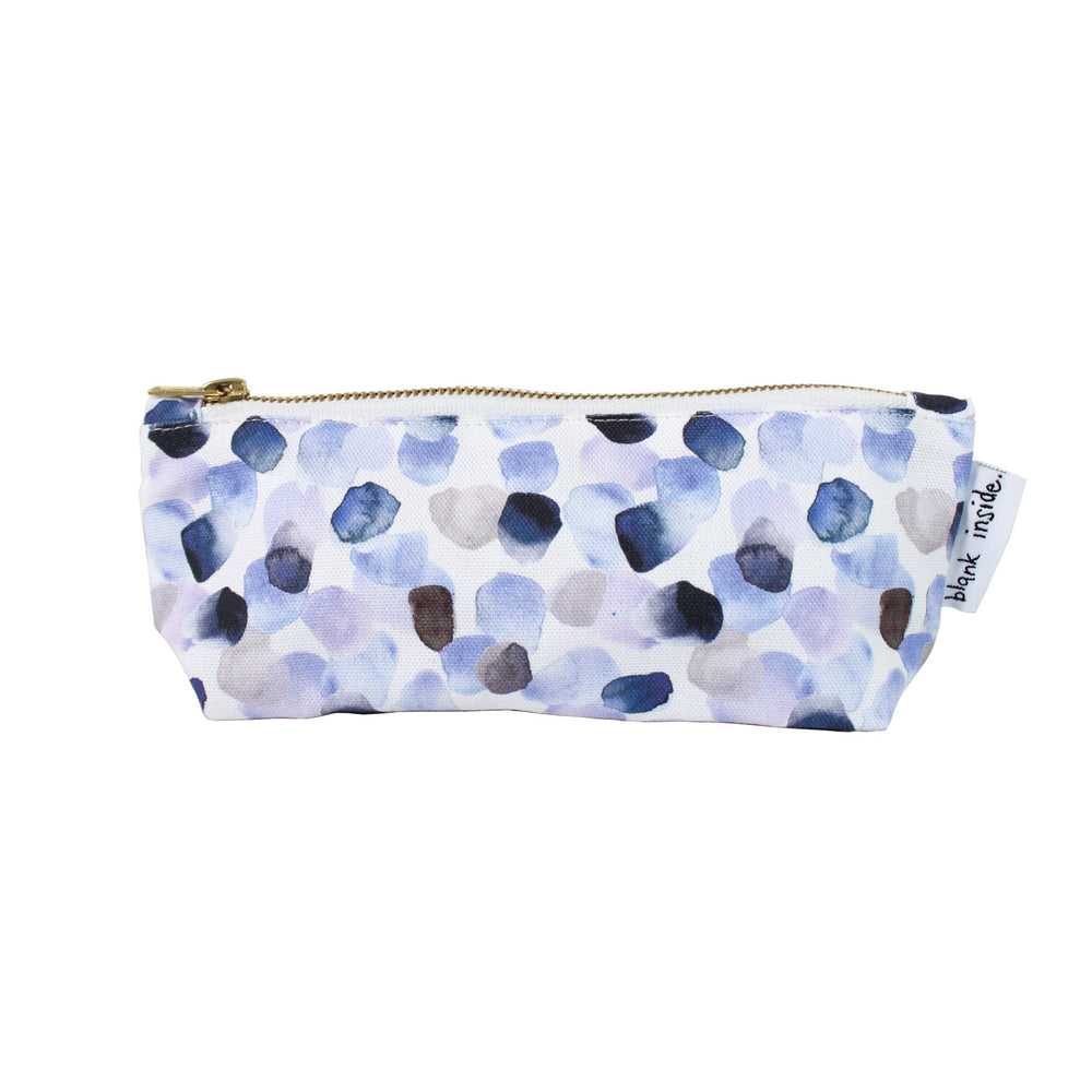Painterly Petals Blue Pencil Case