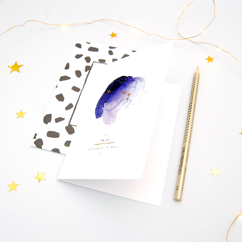 Aries Inky Zodiac Greeting Card