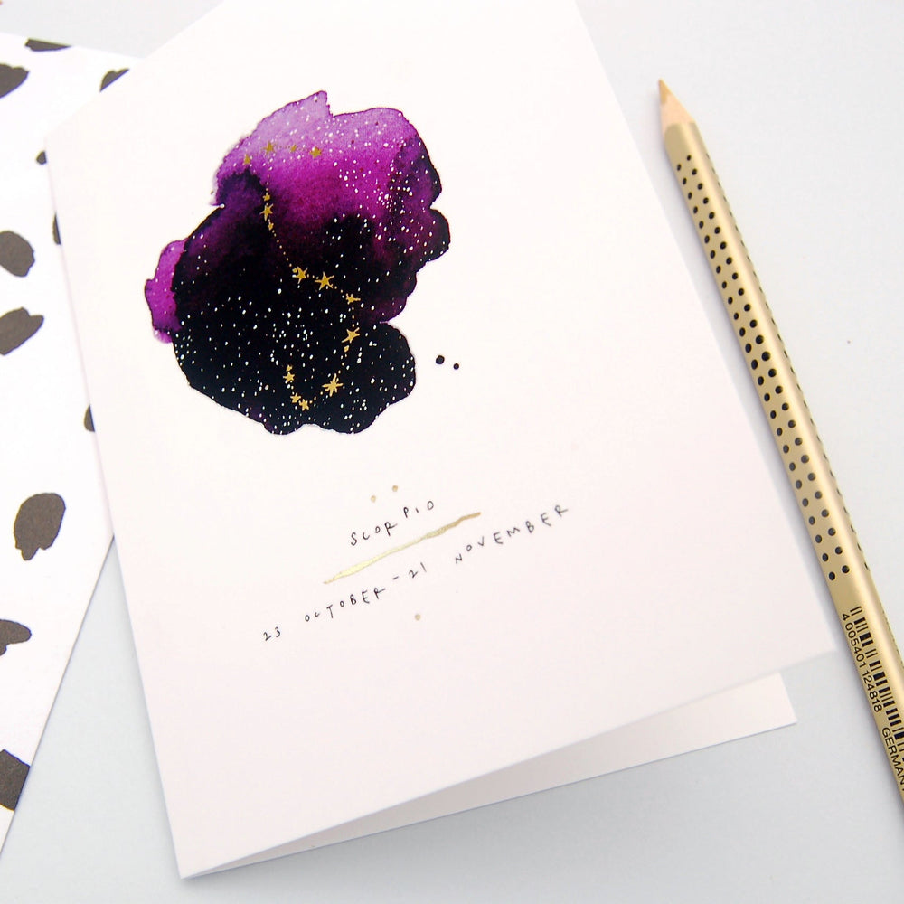 Scorpio Inky Zodiac Greeting Card
