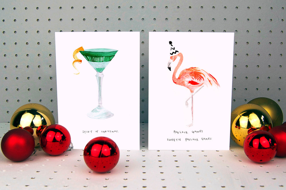 Parlour Games Sweetie Flamingo Christmas Card