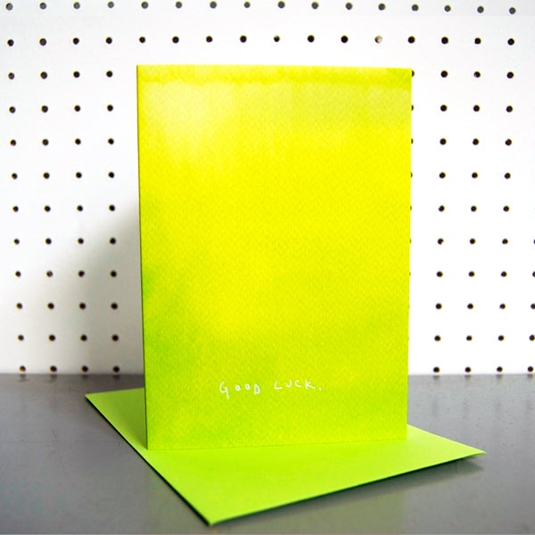 Lime Ombre Good Luck Greetings Card