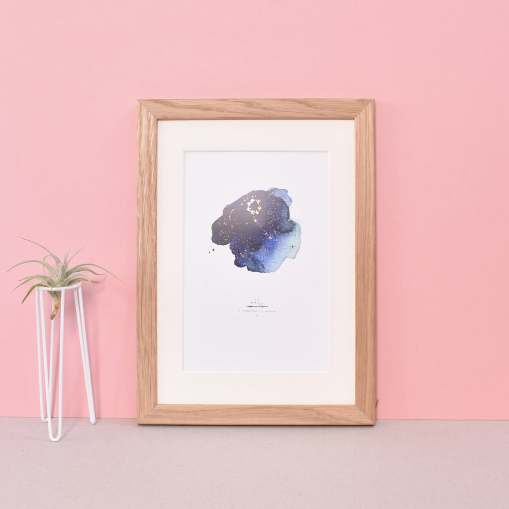 Pisces Zodiac Gold Foiled Art Print