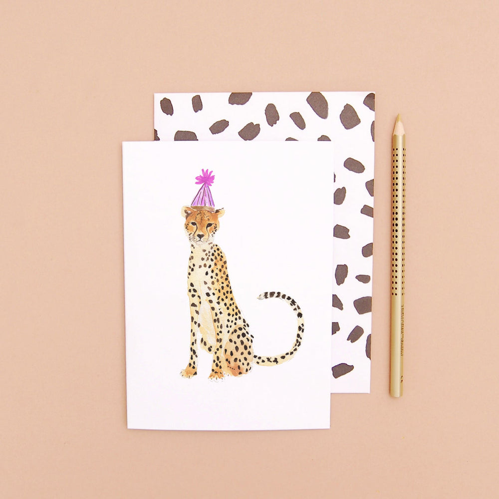 Cheetah in a party hat Greeting Card
