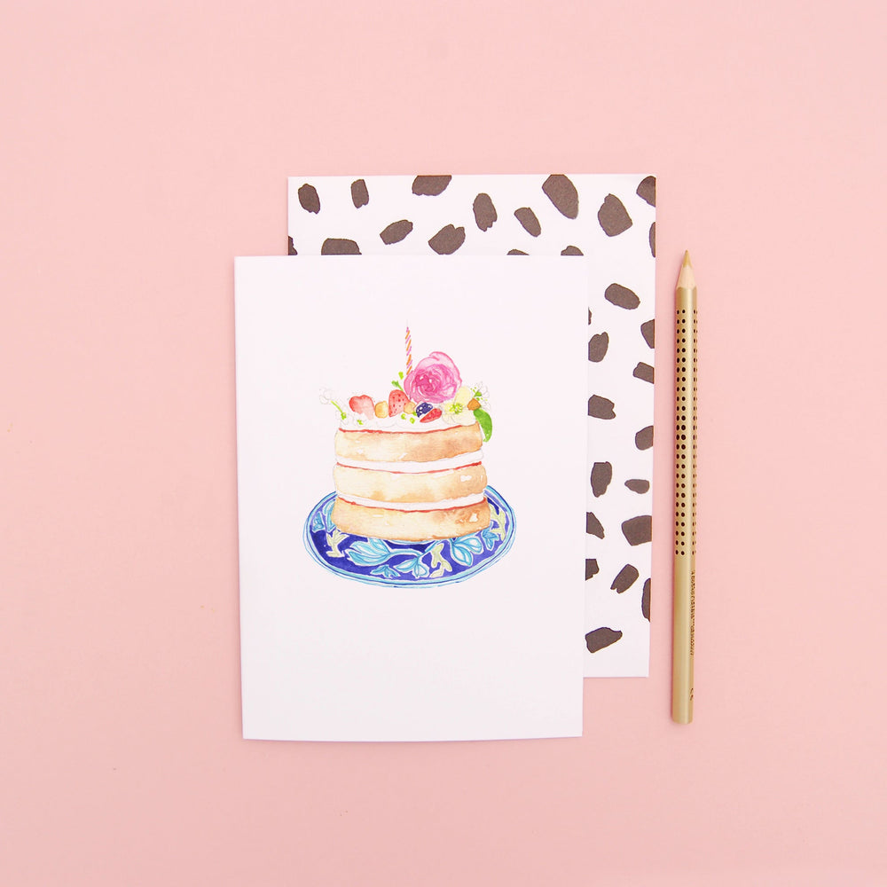 Birthday Cake on a patterned blue plate Greeting Card