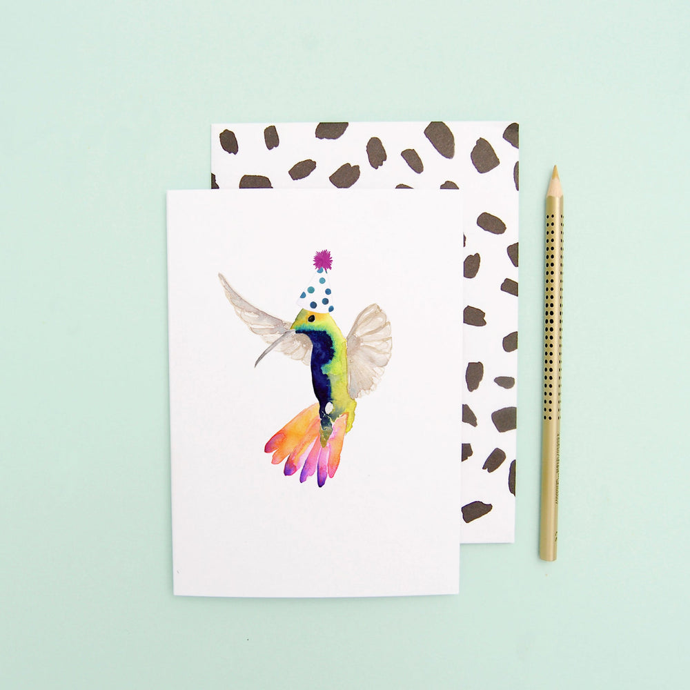 Hummingbird with party hat Greeting Card