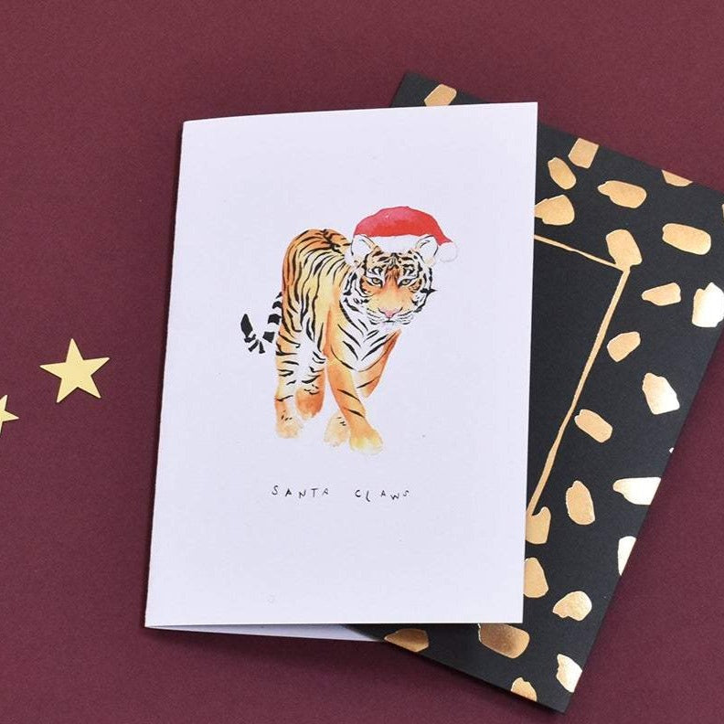 Santa Claws Tiger Christmas Card