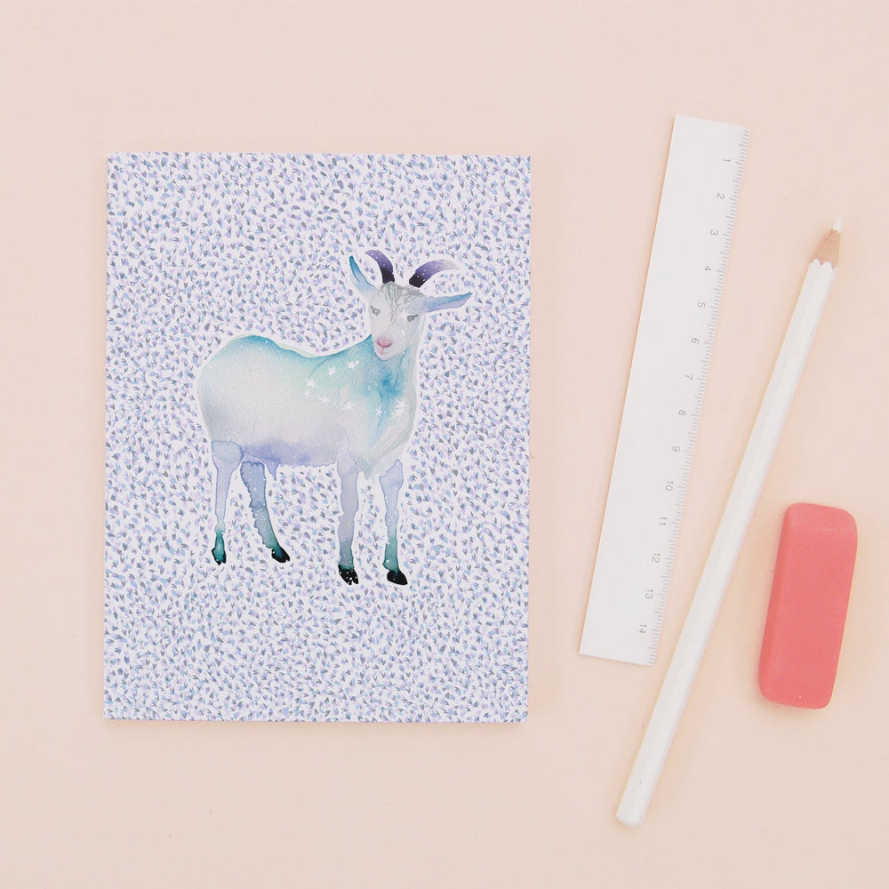 The Goat Capricorn Zodiac - Recycled Paper Notebook