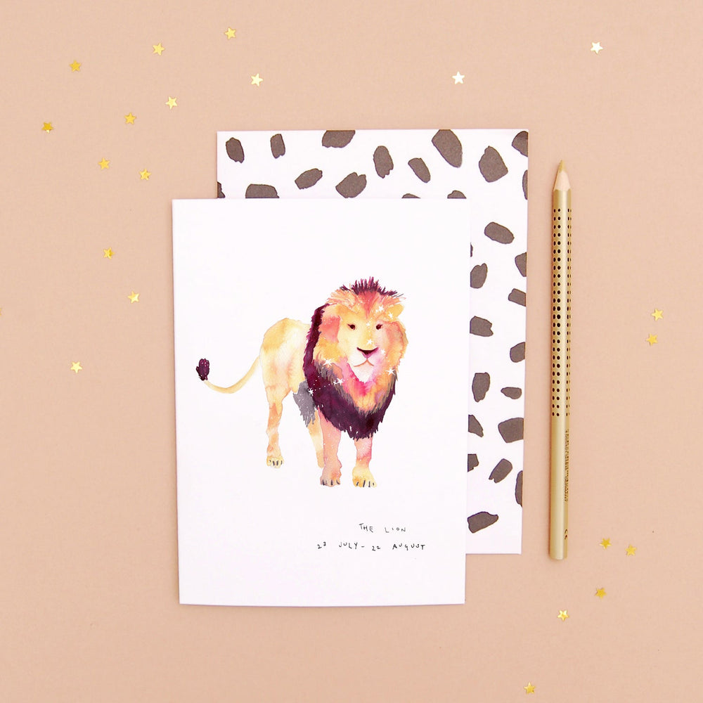 The Lion Leo Zodiac Greetings Card